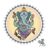 Lord Ganesha Hand getrokken illustratie Stock Afbeelding