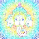 Lord Ganesha hindú sobre modelo adornado de la mandala Illustrat del vector stock de ilustración