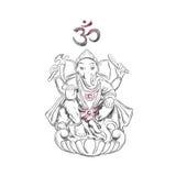 Lord Ganesha hinduism Symbol av välstånd och lösningshinder illustratören för illustrationen för handen för borstekol gör tecknin Arkivfoton