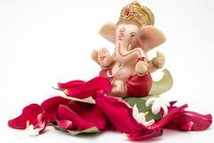 Lord Ganesha Idol com pétalas cor-de-rosa, as flores brancas e as folhas no fundo branco imagens de stock royalty free
