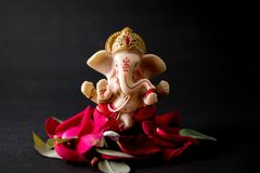 Lord Ganesha Idol com pétalas cor-de-rosa, as flores brancas e as folhas no fundo preto, pooja de Ganesha imagem de stock royalty free