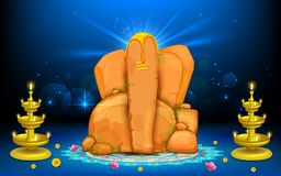 Lord Ganesha. Illustration of statue of Lord Ganesha made of rock Stock Photography