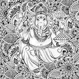 Lord Ganesha indou au-dessus de modèle fleuri de zentangle Illustration de vecteur Style tiré par la main de zentangle de fond in illustration stock