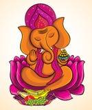 Lord Ganesha on lotus 3 Royalty Free Stock Image