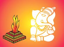 Lord Ganesha near Homa Stock Photo