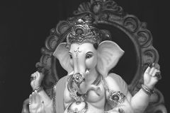 Lord Ganesha. On sculpture black and white Stock Images