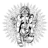 Lord Ganesha sketch on a background. Vector Royalty Free Stock Image