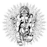 Lord Ganesha-Skizze auf einem Hintergrund Vektor Lizenzfreies Stockbild