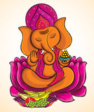 Lord Ganesha su loto 3 Royalty Illustrazione gratis