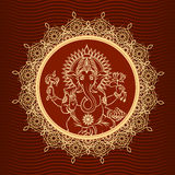 Lord Ganesha sunburst. Head indian elephant and hinduism and animal, crown and lotus. Vector illustration Stock Image