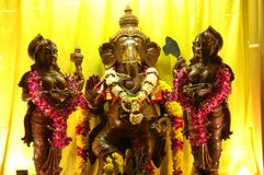 Lord Ganesha during Thaipusam. During Thaipusam, booths will be set up and nicely decorated. This picture of Lord Ganesha was taken during Thaipusam festival in stock image