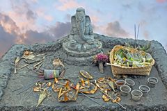 Lord Ganesha on top of the Bromo vulcano on Java Indonesia. Asia Stock Photo