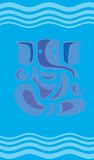 Lord Ganesha with waves of blu Royalty Free Stock Images