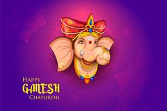 Lord Ganpati background for Ganesh Chaturthi festival of India. Illustration of Lord Ganpati background for Ganesh Chaturthi festival of India royalty free illustration