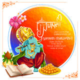 Lord Ganpati background for Ganesh Chaturthi. Illustration of Lord Ganpati background for Ganesh Chaturthi with message in Hindi Ganapati stock illustration