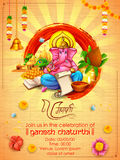 Lord Ganpati background for Ganesh Chaturthi. Illustration of Lord Ganpati background for Ganesh Chaturthi with message in Hindi Ganapati royalty free illustration