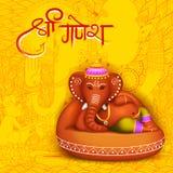 Lord Ganpati background for Ganesh Chaturthi. Illustration of Lord Ganpati background for Ganesh Chaturthi with message Shri Ganeshaye Namah Prayer to Lord Stock Photo