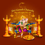 Lord Ganpati on Ganesh Chaturthi sale promotion advertisement background Stock Photo