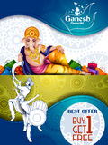 Lord Ganpati on Ganesh Chaturthi sale promotion advertisement background. Easy to edit vector illustration of Lord Ganpati on Ganesh Chaturthi sale promotion Royalty Free Stock Image