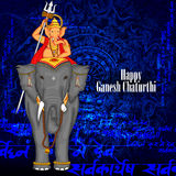 Lord Ganpati riding on elephant for Ganesh Chaturthi background Royalty Free Stock Photos