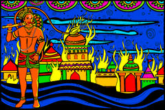 Lord Hanuman Lanka Dahan Stock Images