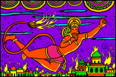 Lord Hanuman Lanka Dahan Royalty Free Stock Images