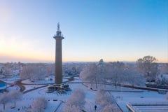 Lord Hill y x27; columna Shrewsbury de s en invierno Foto de archivo libre de regalías