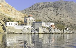 Lord Holy Chapel all'isola di Symi fotografia stock