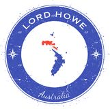 Lord Howe Island circular patriotic badge. Grunge rubber stamp with island flag, map and name written along circle border, vector illustration stock illustration