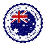 Lord Howe Island flag badge. Vintage travel stamp with circular text, stars and island flag inside it. Vector illustration stock illustration