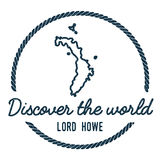 Lord Howe Island Map Outline. Vintage Discover the World Rubber Stamp with Island Map. Hipster Style Nautical Insignia, with Round Rope Border. Travel Vector Stock Photo