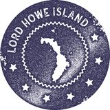Lord Howe Island map vintage stamp. Retro style handmade label, badge or element for travel souvenirs. Deep purple rubber stamp with island map silhouette vector illustration