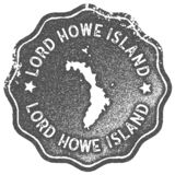Lord Howe Island map vintage stamp. Retro style handmade label, badge or element for travel souvenirs. Grey rubber stamp with island map silhouette. Vector vector illustration