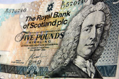Lord Islay Scottish banknote. A banknote for five pounds sterling produced by the Royal Bank of Scotland for use in that part of the United Kingdom of Great royalty free stock image