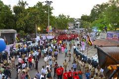 Lord Jagannaths 137. Rath Yatra fängt in Ahmedabad, Rath Yatra an Stockbild