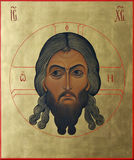 The Lord Jesus Christ the Almighty golden hair. Russian icon, which depicts the Lord Jesus Christ the Almighty golden hair Royalty Free Stock Image
