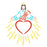 Lord Jesus in the crown, heart and radiant rays, blessing and gr. Ace vector illustration