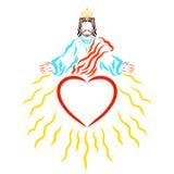 Lord Jesus dans la couronne, le coeur et les rayons, la bénédiction et le GR rayonnants illustration de vecteur