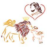 Lord Jesus dans le coeur, le lion à ailes dans la couronne, et t illustration stock
