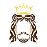 Lord Jesus in der Krone, bunte Skizze, Schattenbild vektor abbildung