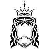 Lord Jesus in einer Krone mit einem Vogel und Kerzen, Skizze vektor abbildung