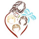 Lord Jesus, enfants, la bible, la croix et la colombe illustration stock