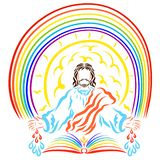 Lord Jesus with the open book of life, the shining sun, the rain. Bow and the healing drops stock illustration