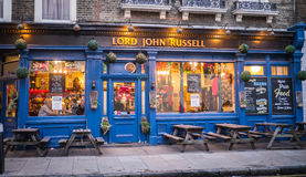 Lord John Russell pub, Marchmont Street, London, at Christmas. Exterior of Lord John Russell pub, Marchmont Street, Bloomsbury, London, England. Night scene Stock Photography