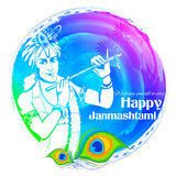 Lord Krishana in Gelukkige Janmashtami royalty-vrije illustratie