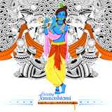 Lord Krishana in Gelukkige Janmashtami Stock Foto's