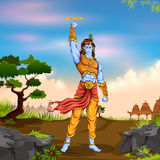 Lord Krishana holding Sudarshan Chakra in Happy Janmashtami Royalty Free Stock Images