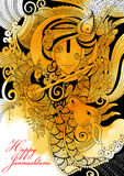 Lord Krishana i lyckliga Janmashtami Arkivbilder