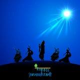 Lord Krishna che fa Leela impetuoso in Janmasthami Fotografia Stock