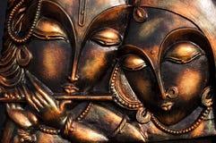 Lord Krishna con il suo ladylove Fotografia Stock Libera da Diritti